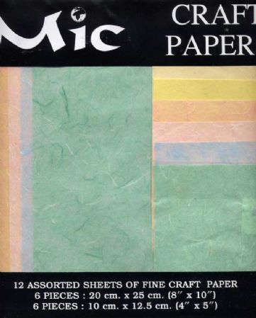 12 Sheets of High Quality Fine Pastels Craft Paper